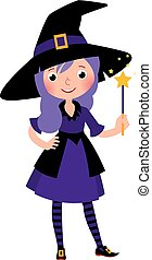 magia, halloween, wand.eps, strega, costume, ragazza