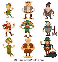 magia, ikony, elf, odizolowany, albo, gnomy, wektor, dwarfs...