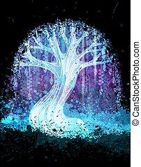 magia, illustration., manifesto, albero, addirsi, surreale, vettore, fondo, grunge, o, night.