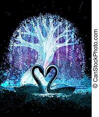 magia, illustration., manifesto, coppia, albero, addirsi, surreale, vettore, fondo, fronte, grunge, cigni, o, night.