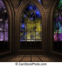 magia, janela, em, um, fantasia, setting., 3d, fazendo, de,...