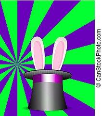 magia, kapelusz, królik, fiołek, próbka, kłosie, zielony, sunburst