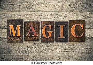 magia, legno, letterpress, concetto