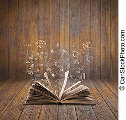 magia, libro, con, concepto de la corporación mercantil, y,...