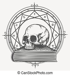 magia, libro, schizzo, con, cranio