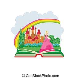magia, livro, -, bonito, jovem, rainha, frente, dela, castelo