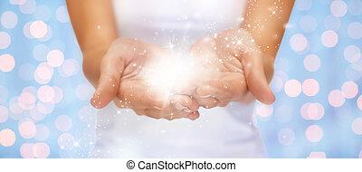 magia, luccichi, o, fata, polvere, su, femmina porge
