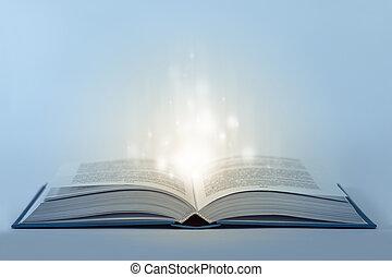 magia, luce, astratto, libro, tavola, aperto, dentro