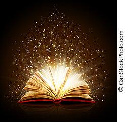magia, luces, libro, fondo negro, abierto