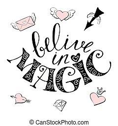 magia, mão, desenhado, illustration-, cute, arco íris, e, lettering, texto, i, acreditar, em, miracles.