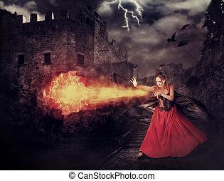magia, medieval, -, lançar, feiticeira, castelo, fireball