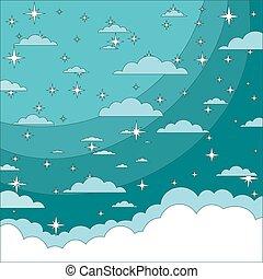 magia, navidad, cloud., brillar, stars., cielo de la noche, resumen, fondo.