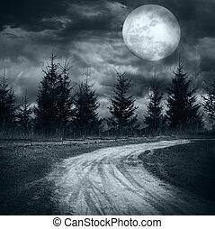 magia, paesaggio, con, vuoto, strada rurale
