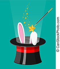 magia, pasqua, mago, wand., cappello, orecchi coniglietto