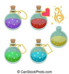 magia, poción, botellas, con, tags.