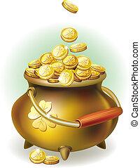magia, pote, com, moeda ouro