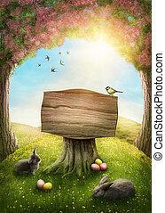 magia, primavera, bosque
