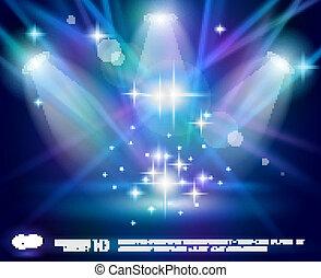 magia, riflettori, con, blu, viola, raggi