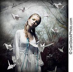 magia, romantyk, spooky, imagination., forest., unosząc, origami, blondynka, ptaszki