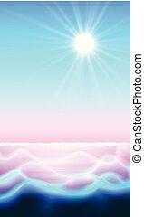 magia, shine., sole, acqua, fondo, paradiso, ondulazione