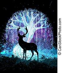 magia, silhouette, illustration., manifesto, cervo, albero, addirsi, surreale, vettore, fondo, fronte, grunge, o, night.