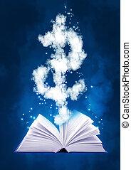 magia, simbolo, libro, dollaro