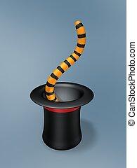 magia, sombrero, con, tigre, cola