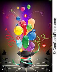 magia, sombrero, globos
