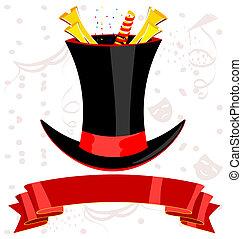 magia, sombrero superior, cinta