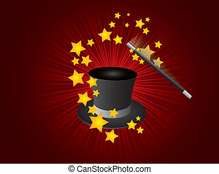 magia, sombrero, vector