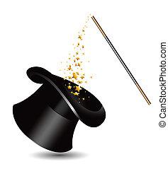 magia, sombrero, y, varita, con, sparkles., v