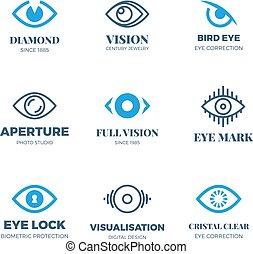 magia, symbols., logos., vetorial, vista visão, misteriosa, olho, emblemas