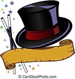 magia, tema, chapéu superior, e, bandeira, vetorial,...