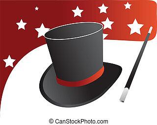 magia, vettore, cappello