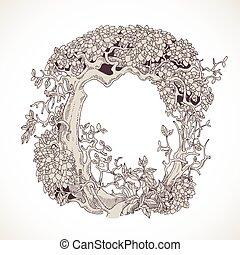 magia, vindima, -, árvores, mão, este prego, desenhado, ...