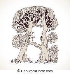 magia, vindima, -, árvores, mão, floresta, desenhado, fonte