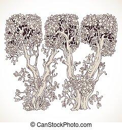 magia, vindima, -, árvores, mão, floresta, w, desenhado, ...