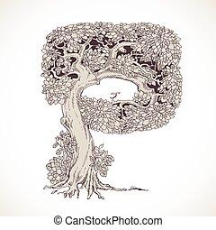 magia, vindima, -, árvores, mão, p, floresta, desenhado, ...