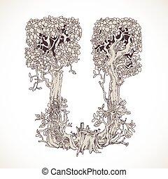 magia, vindima, -, árvores, mão, u, floresta, desenhado, ...