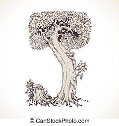 magia, vindima, j, -, árvores, mão, floresta, desenhado, ...