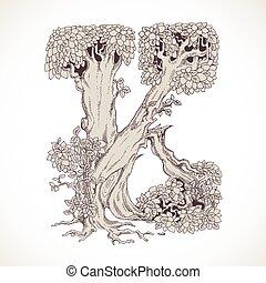 magia, vindima, k, -, árvores, mão, floresta, desenhado, ...