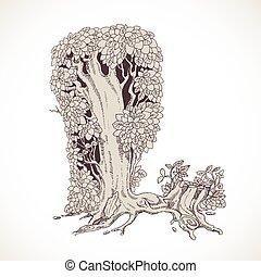 magia, vindima, -, l, árvores, mão, floresta, desenhado, ...