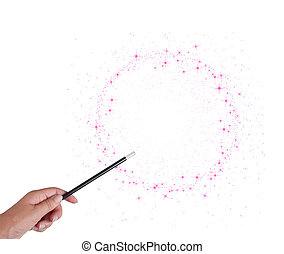 magia wand, ręka, odizolowany, albo, stardust., white., gwiazdy, ring, koło