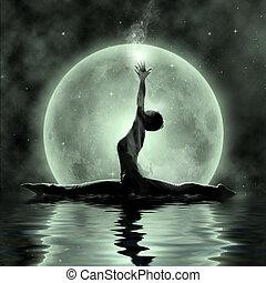 magia, -, yoga, meditación, luz de la luna
