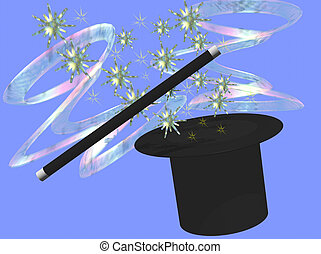 Magic - A top hat and wand conjure magic stars