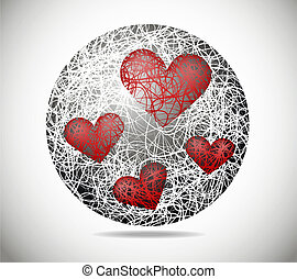 Magic abstract sphere of fine lines with hearts
