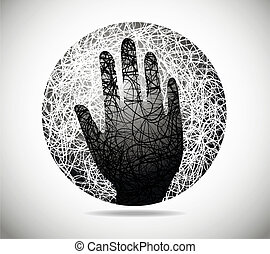 Magic abstract sphere of fine lines with the palm