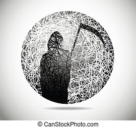 Magic abstract sphere of fine lines with the death of with a...