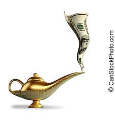 Magic Alladin lamp - Golden magic Aladdin lamp smoking money...