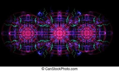 Magic antistress patterns in tunnel motion, color changing ornament for relaxation and meditation exercises, fractal patterns in vivid colors on black background, FullHD video
